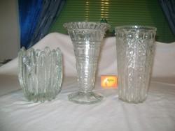 Három darab retro üveg váza