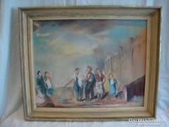 Barta Mária (?) Jelzett szocreál pasztell festmény