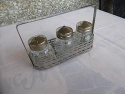 Régi só - bors  tartó, Metszett üveg só-bors szóró, Utasellátó só és bors szóró