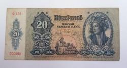 20 pengő 1941, alacsony sorszám.