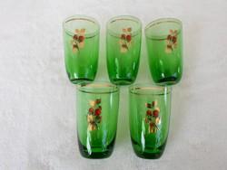 Antik kézzel festett, aranyozott zöld hibátlan likőrös poharak 5 db