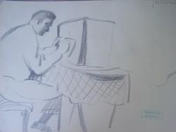 Gyenes Gitta (1888 - 1960) Rádiót hallgató - 1930 körül