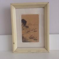 Régi keleti kézzel festett slyemkép fa keretben