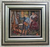 TOP FESTŐ RITKASÁG !!! Domanovszky Endre - Dolgozók festőiskolája képének vázlata AKCIÓS ÁRON