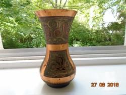 Antik cizellált,berakásos vörös réz Keleti váza