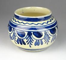 0S151 Korondi kék fehér kerámia kisváza 9 cm