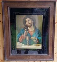 JÉZUS KRISZTUS RÉGI NAGY MÉRETŰ NYOMAT TÖMÖR FA KERETBEN 71 x 85 cm