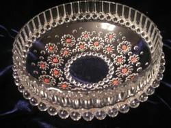 Zománcos  hibátlan Virágddíszes üveg Kínáló hólyagmintás 20 X 8 cm magas