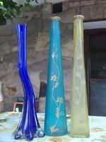 3 karcsú-magas vastag falú üvegváza-kézzel festve