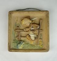 0S253 Régi Hummel jellegű falikép békás kisfiú