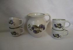 Szeder mintás fajans teás készlet,4 csésze,és kiöntő