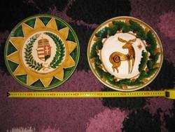 4db kerámia tál, tányér, 2000 éves Magyarország, a régi címerrel, 31 cm