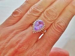 Szépséges régi ametiszt gyémánt aranygyűrű VIDEO
