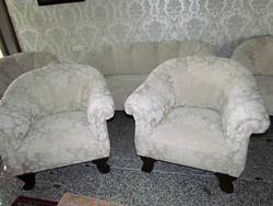 Felújított  antik bieder szalongarnitúra 3-as kanapé+ 4db fotel