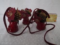 Karácsonyfadísz - 3db - harang - fényes burgundi - 7 x 5 cm, 3 db