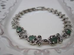 Markazit, smaragd köves ezüst karkötő 14,9 gr
