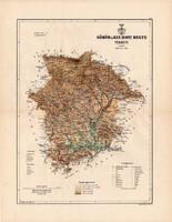 Gömör és Kis - Hont megye térkép 1889, vármegye, atlasz, eredeti, Kogutowicz Manó, 43 x 56 cm