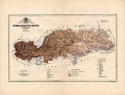 Torda - Aranyos megye térkép 1889, vármegye, atlasz, eredeti, Kogutowicz Manó, 43 x 56 cm, Erdély