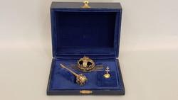 Különleges miniatűr aranyozott ezüst Korona ékszerek