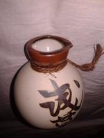 Régi japán sake kínáló szakés palack, kínai írásjeles porcelán kerámia butykos korsü