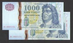 """1000 forint 2005. """"DC"""". 2 db sorszám követő!!  UNC!!"""