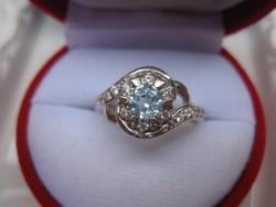 Exkluzív, topáz ezüst gyűrű - svájci kék árnyalat