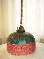 Antik békaláncos mennyezeti lámpa különleges, egyedi üveg búrával