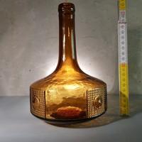 Világosbarna, lapított henger formájú, art deco likőrösüveg (428)