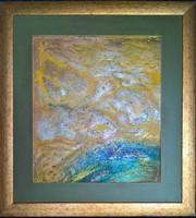 Teremtés c. Wass Albert idézettel 58x55cm-es kép arany keretben.Károlyfi Zsófia parafa alkotása