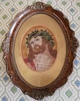 Antik tűgobelin Krisztus kép blondel keretben