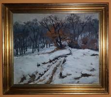 Holba Tivadar (1906 - 1995 ) Téli hangulat c.Képcsarnokos olajfestménye 71x61 cm Eredeti Garanciával