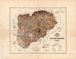 Zólyom vármegye térkép 1889, Magyarország, megye, atlasz, Kogutowicz Manó, 43 x 56 cm, eredeti
