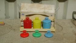 Retro fali fűszertartó készlet - bakelit