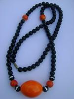 Antik art deco nyaklánc; onix és nagy achát? kővel, nem használt