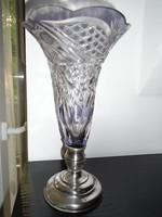 Kristály váza ezüst talppal