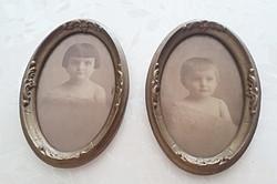 Régi ovális képkeret vintage kislány fénykép 2 db