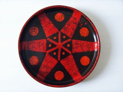 Képcsarnokos, iparművész kerámia falitál, fali tányér magas peremmel