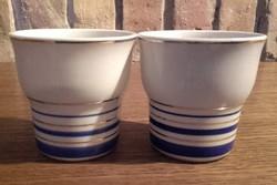 Hollóházi porcelán pohár arany - kobalt kék csíkos,szép formájú ,csésze,bögre