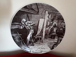 Kézzel festett porcelán falitál: Pékség 1900 körül.