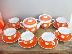 Extrém ritka pöttyös retro orosz Duljevo porcelán teáskészlet.Sosem használt,teljes készlet!