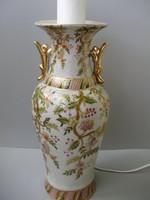 Antik dúsan aranyozott váza alakú kínai porcelán lámpa,gyönyörű barackvirág mintával