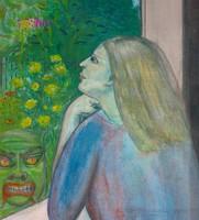 Ablakon kitekintő nő, akit az ördög megkísért