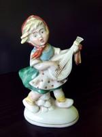 Német porcelán kislány mandolinnal jelzett