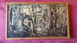 RÁTKAY ENDRE FESTMÉNY TÁBLAKÉP / AVANTGARD 43 x 25,5 cm / SZIGNÓZOTT