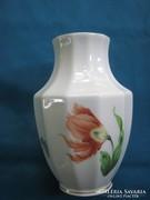 Régi herendi porcelán virágmintás tulipános váza 12 cm