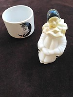 60-as évek bohóc kölnisüveg - tölthető, ma is használható és porcelán ékszertartó