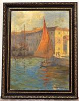 Farádi Veres Izabella (1884-1968) Bretagne-i kikötő 1920 körüli olajfestménye 90x70cm EREDETI !!!