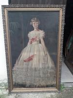 Oriási méretű  régi olaj vászon festmény  hagyatékból fellelt állapotban.