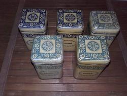 Retro,vintage pléh fűszeres doboz 5 db