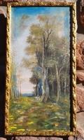 Mednyánszky: tájkép, falc 32x64 cm, antik díszes képkeret,olaj festmény. Tavaszi nyírfasor.